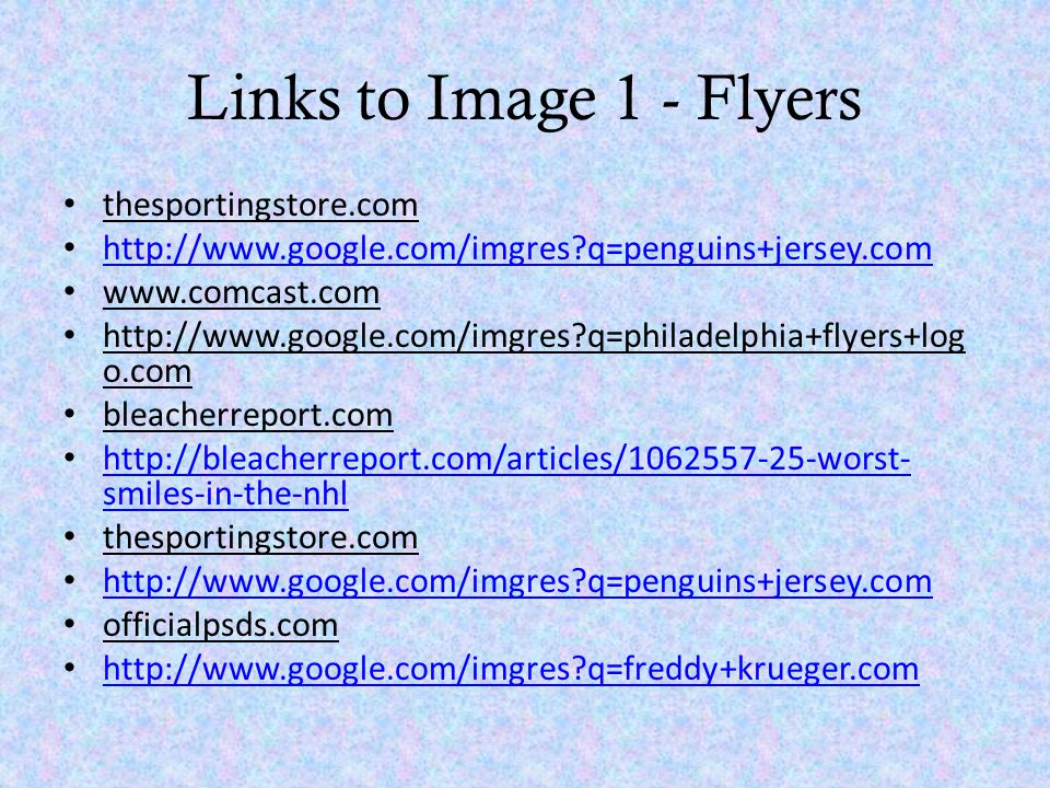 Links to Image 1 - Flyers thesportingstore.com http://www.google.com/imgres?q=penguins+jersey.com www.comcast.com http://www.google.com/imgres?q=phila