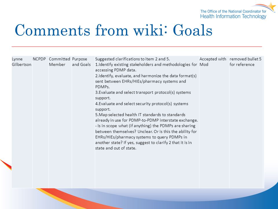 Comments from wiki: Goals Lynne Gilbertson NCPDPCommitted Member Purpose and Goals Suggested clarifications to item 2 and 5.