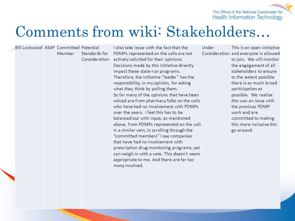 Comments from wiki: Stakeholders… Bill LockwoodASAPCommitted Member Potential Standards for Consideration I also take issue with the fact that the PDMPs represented on the calls are not actively solicited for their opinions.
