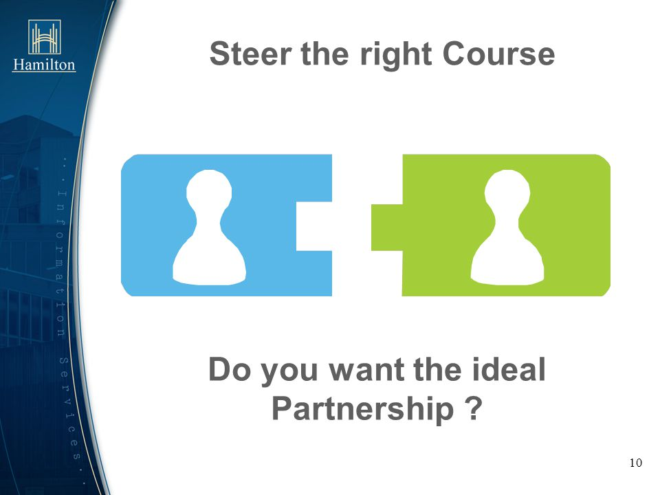 10 Steer the right Course Do you want the ideal Partnership ?