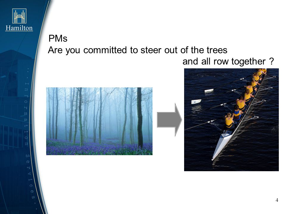 4 PMs Are you committed to steer out of the trees and all row together ?