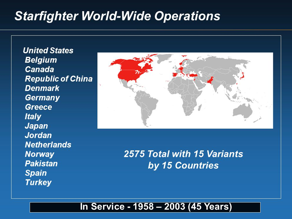 In Service - 1958 – 2003 (45 Years) United States Belgium Canada Republic of China Denmark Germany Greece Italy Japan Jordan Netherlands Norway Pakist
