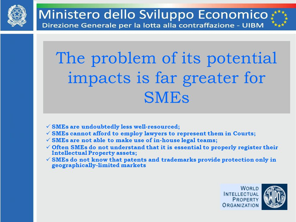 The problem of its potential impacts is far greater for SMEs SMEs are undoubtedly less well-resourced; SMEs cannot afford to employ lawyers to represent them in Courts; SMEs are not able to make use of in-house legal teams; Often SMEs do not understand that it is essential to properly register their Intellectual Property assets; SMEs do not know that patents and trademarks provide protection only in geographically-limited markets