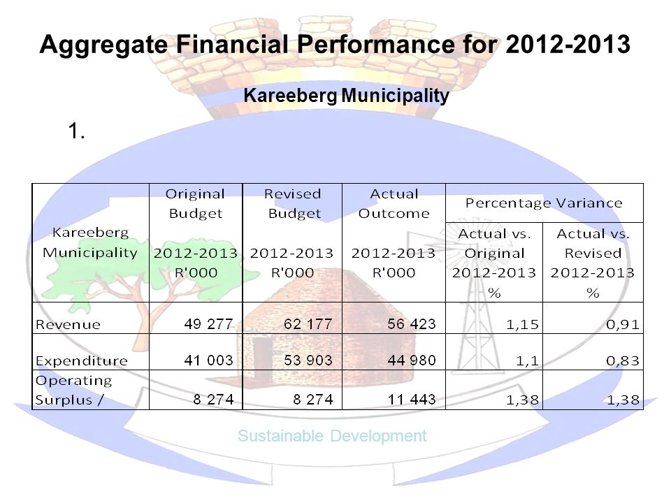 Aggregate Financial Performance for 2012-2013 Sustainable Development Kareeberg Municipality 1.