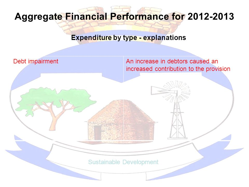 Aggregate Financial Performance for 2012-2013 Sustainable Development Expenditure by type - explanations Debt impairmentAn increase in debtors caused an increased contribution to the provision