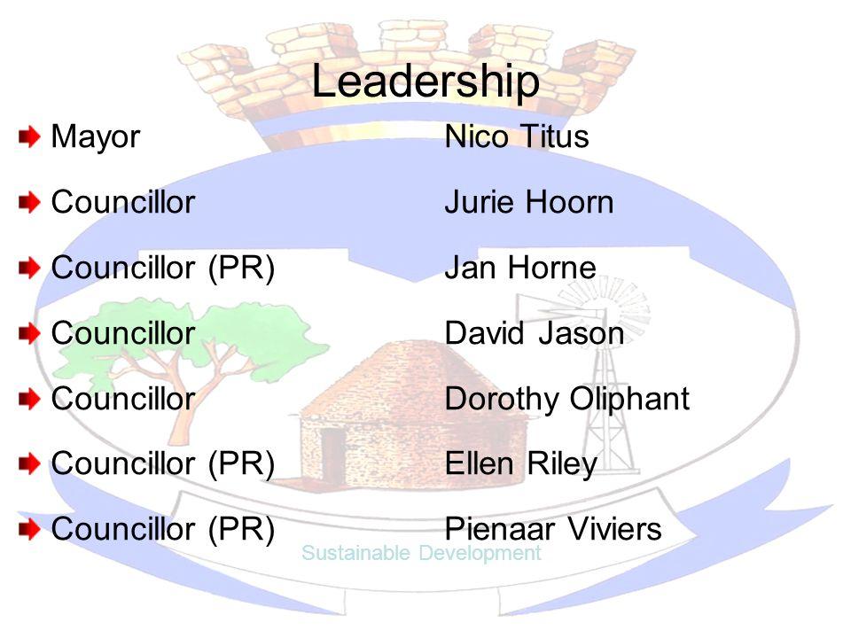 Leadership MayorNico Titus CouncillorJurie Hoorn Councillor (PR)Jan Horne Councillor David Jason Councillor Dorothy Oliphant Councillor (PR)Ellen Rile