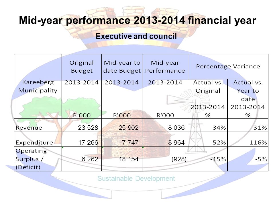 Mid-year performance 2013-2014 financial year Sustainable Development Executive and council
