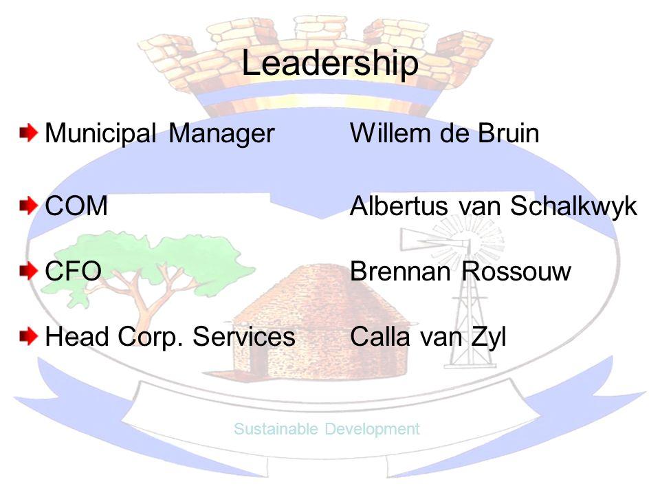 Leadership Municipal ManagerWillem de Bruin COMAlbertus van Schalkwyk CFOBrennan Rossouw Head Corp. ServicesCalla van Zyl Sustainable Development