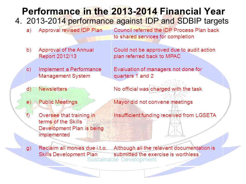 Performance in the 2013-2014 Financial Year 4.
