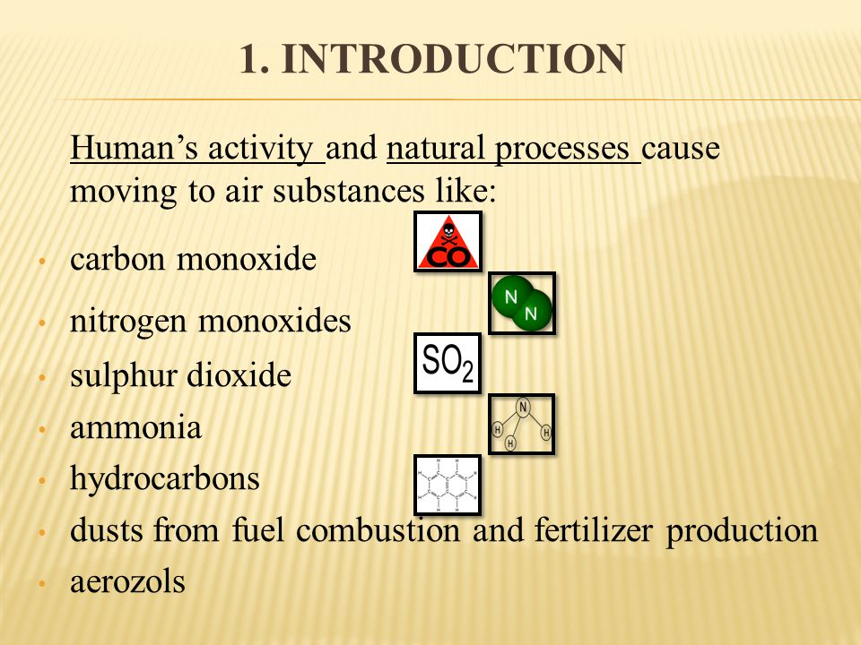 1. INTRODUCTION Humans activity and natural processes cause moving to air substances like: carbon monoxide nitrogen monoxides sulphur dioxide ammonia
