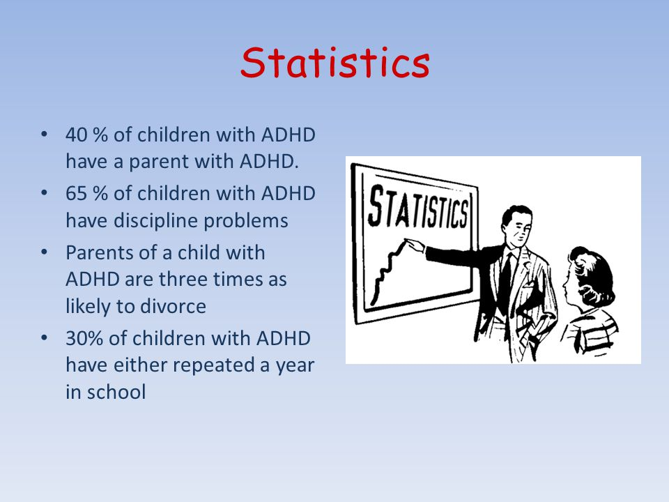 Statistics 40 % of children with ADHD have a parent with ADHD.