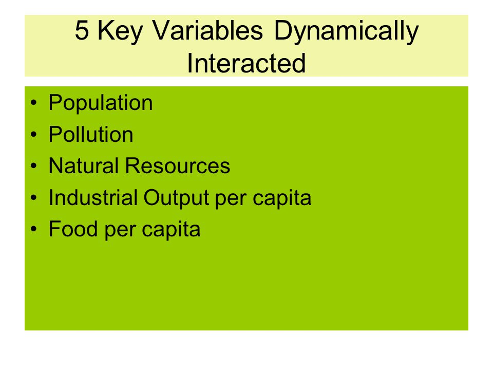 5 Key Variables Dynamically Interacted Population Pollution Natural Resources Industrial Output per capita Food per capita