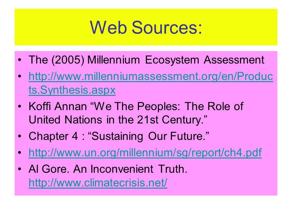 Web Sources: The (2005) Millennium Ecosystem Assessment http://www.millenniumassessment.org/en/Produc ts.Synthesis.aspxhttp://www.millenniumassessment