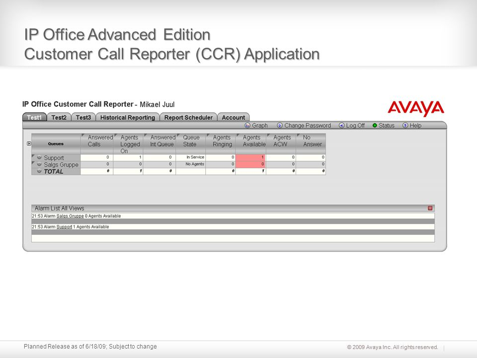 © 2009 Avaya Inc. All rights reserved. Planned Release as of 6/18/09; Subject to change IP Office Advanced Edition Customer Call Reporter (CCR) Applic