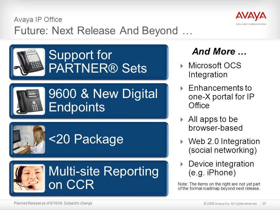 © 2009 Avaya Inc. All rights reserved. Planned Release as of 6/18/09; Subject to change Avaya IP Office Future: Next Release And Beyond … And More … M