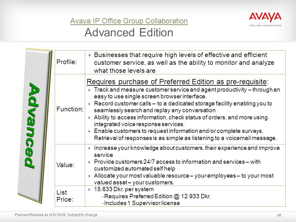 Planned Release as of 6/18/09; Subject to change Avaya IP Office Group Collaboration Avaya IP Office Group Collaboration Advanced Edition Profile: Bus