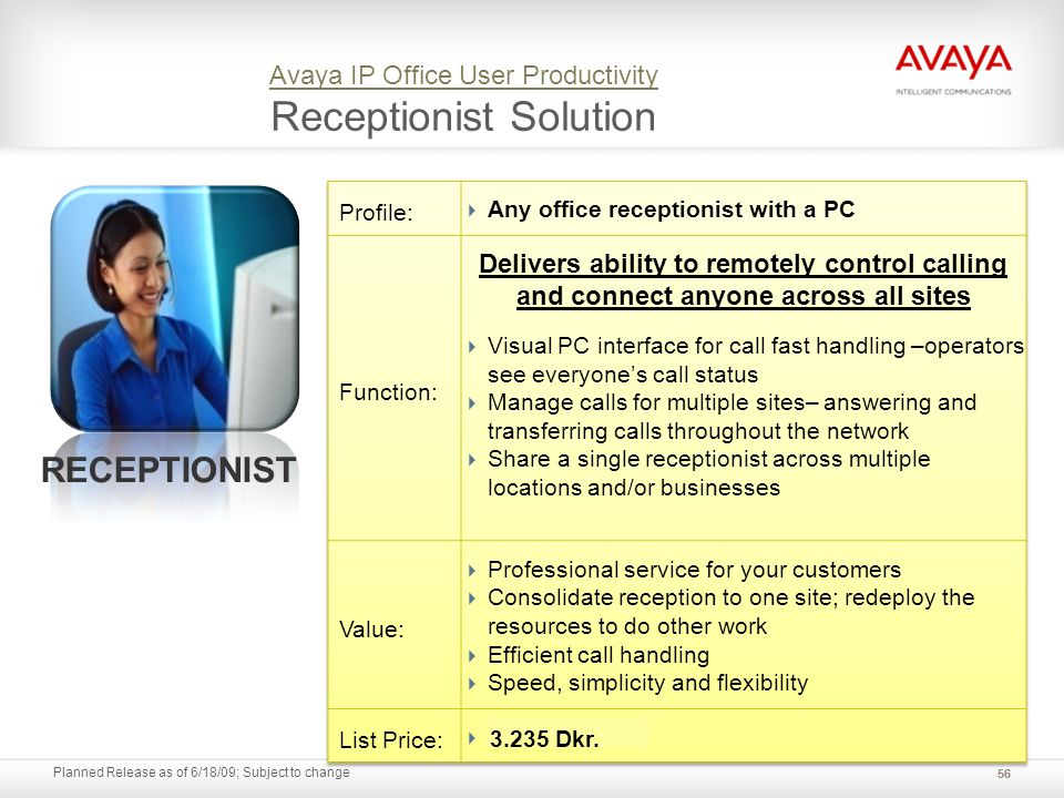 Planned Release as of 6/18/09; Subject to change Avaya IP Office User Productivity Avaya IP Office User Productivity Receptionist Solution 56 RECEPTIO