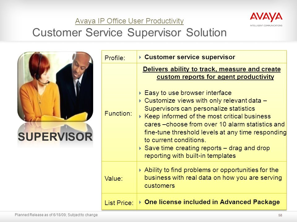 Planned Release as of 6/18/09; Subject to change Avaya IP Office User Productivity Avaya IP Office User Productivity Customer Service Supervisor Solut