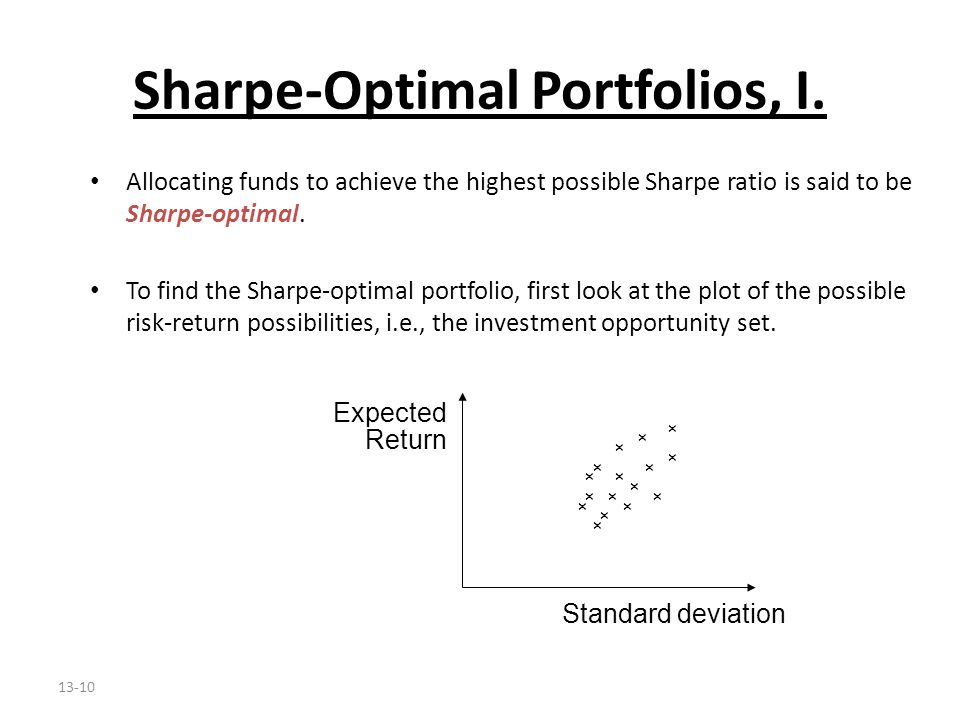 13-10 Sharpe-Optimal Portfolios, I. Allocating funds to achieve the highest possible Sharpe ratio is said to be Sharpe-optimal. To find the Sharpe-opt