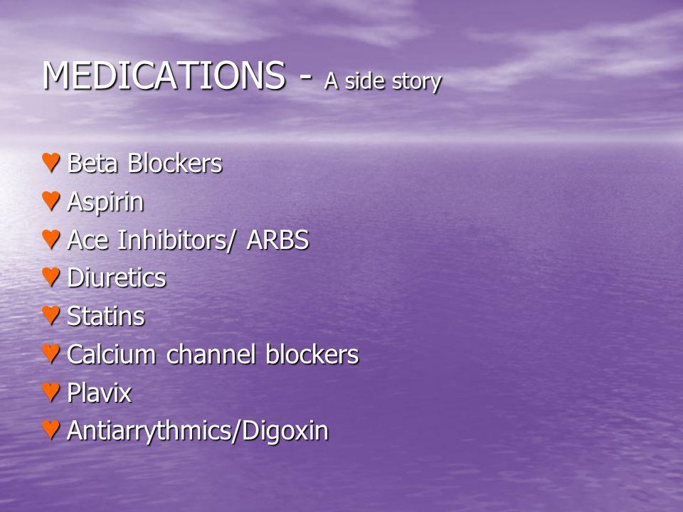 MEDICATIONS - A side story Beta Blockers Beta Blockers Aspirin Aspirin Ace Inhibitors/ ARBS Ace Inhibitors/ ARBS Diuretics Diuretics Statins Statins C