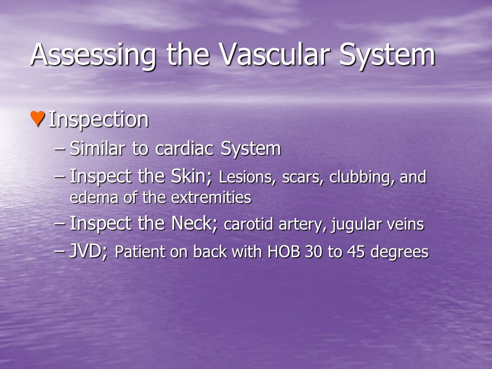 Assessing the Vascular System Inspection Inspection –Similar to cardiac System –Inspect the Skin; Lesions, scars, clubbing, and edema of the extremiti