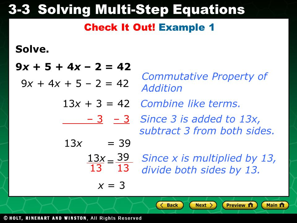 Evaluating Algebraic Expressions 3-3Solving Multi-Step Equations Check It Out.