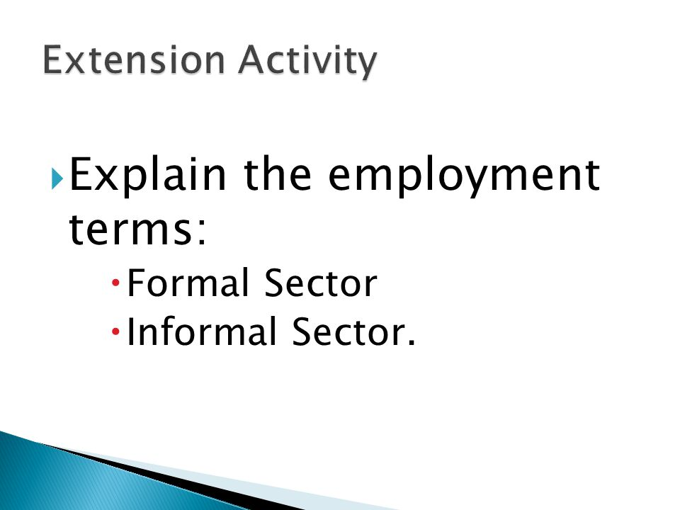 Explain the employment terms: Formal Sector Informal Sector.