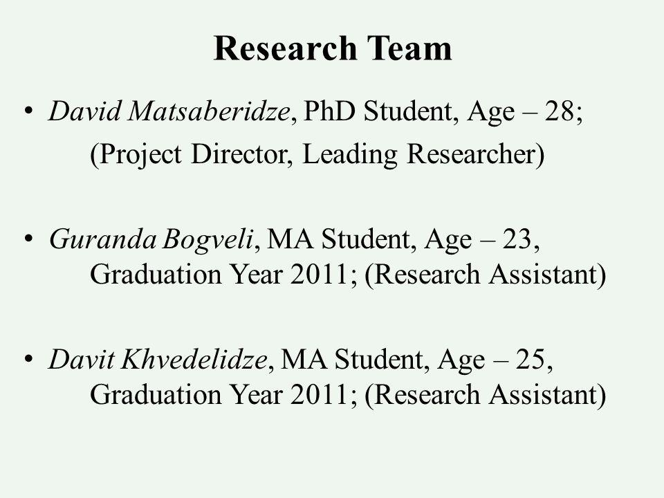 Research Team David Matsaberidze, PhD Student, Age – 28; (Project Director, Leading Researcher) Guranda Bogveli, MA Student, Age – 23, Graduation Year 2011; (Research Assistant) Davit Khvedelidze, MA Student, Age – 25, Graduation Year 2011; (Research Assistant)