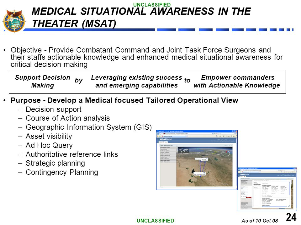 As of 10 Oct 08 UNCLASSIFIED 24 Objective - Provide Combatant Command and Joint Task Force Surgeons and their staffs actionable knowledge and enhanced
