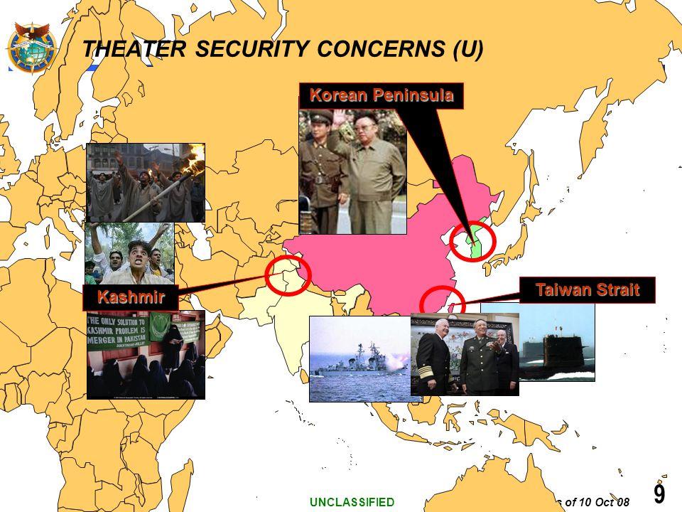 As of 10 Oct 08 UNCLASSIFIED 9 THEATER SECURITY CONCERNS (U) Taiwan Strait Kashmir Korean Peninsula