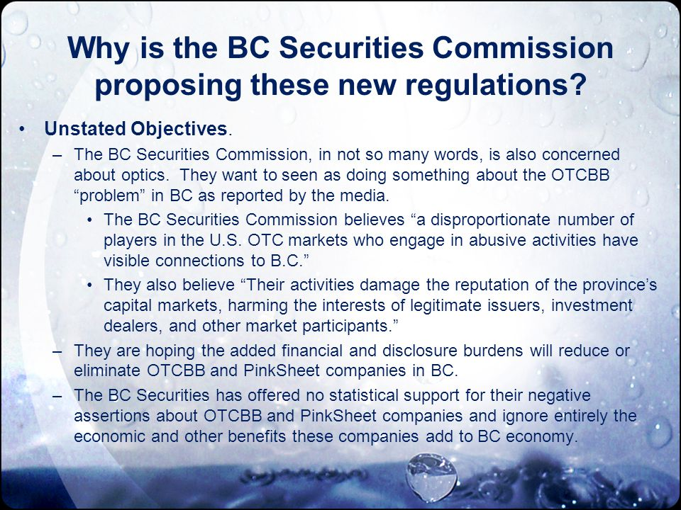 Why is the BC Securities Commission proposing these new regulations.