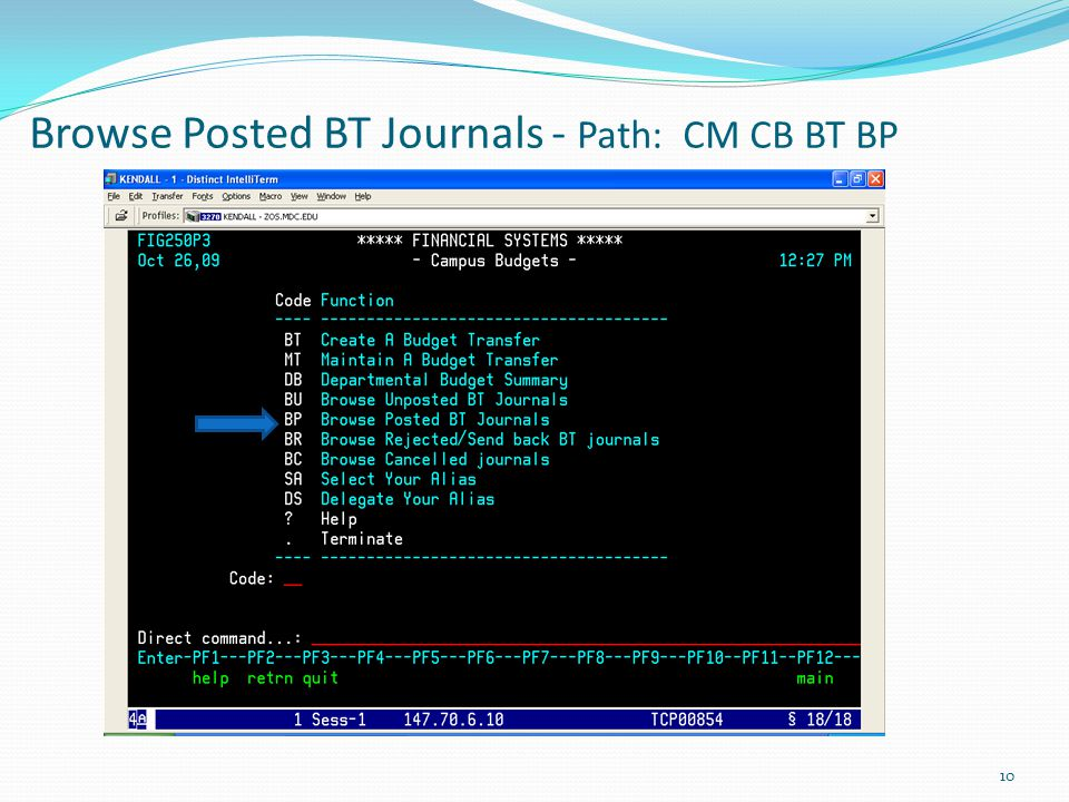 Browse Posted BT Journals - Path: CM CB BT BP 10