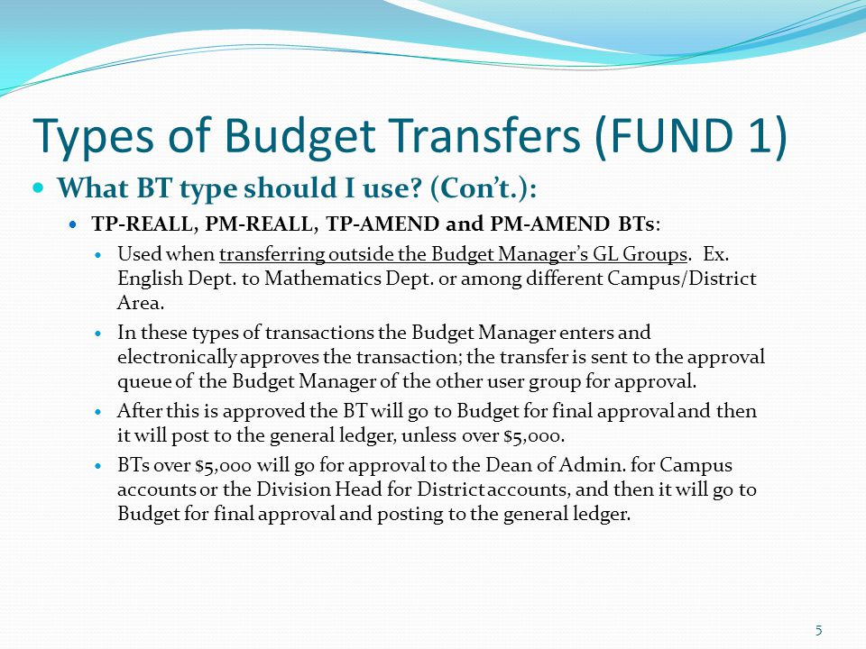 Types of Budget Transfers (FUND 1) What BT type should I use.
