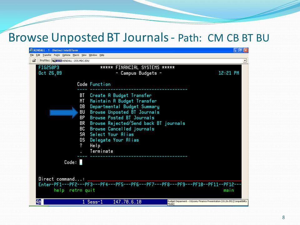 Browse Unposted BT Journals - Path: CM CB BT BU 8