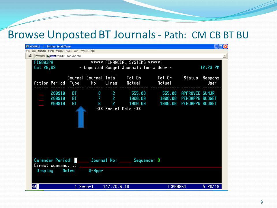 Browse Posted BT Journals - Path: CM CB BT BP 10