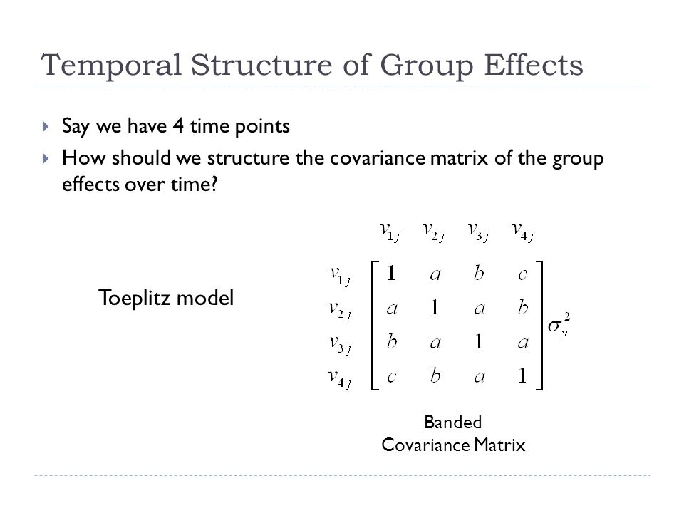 Temporal Structure of Group Effects Say we have 4 time points How should we structure the covariance matrix of the group effects over time.