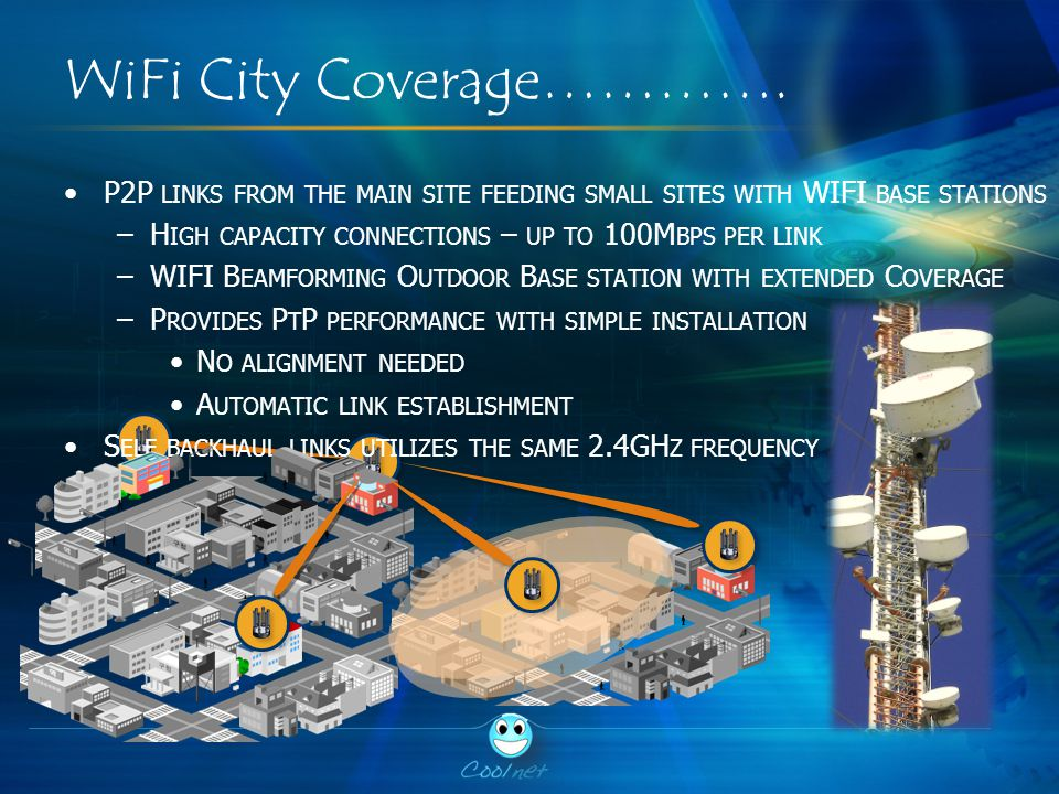 WiFi City Coverage…………. P2P LINKS FROM THE MAIN SITE FEEDING SMALL SITES WITH WIFI BASE STATIONS –H IGH CAPACITY CONNECTIONS – UP TO 100M BPS PER LINK