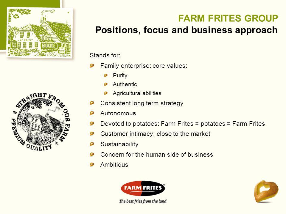 Stands for: Family enterprise: core values: Purity Authentic Agricultural abilities Consistent long term strategy Autonomous Devoted to potatoes: Farm