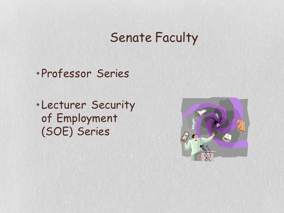 Senate Faculty Professor Series Lecturer Security of Employment (SOE) Series