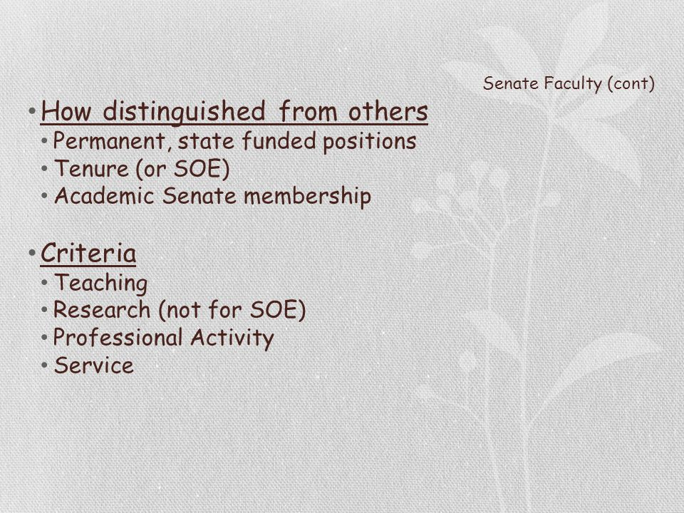 Senate Faculty (cont) How distinguished from others Permanent, state funded positions Tenure (or SOE) Academic Senate membership Criteria Teaching Research (not for SOE) Professional Activity Service
