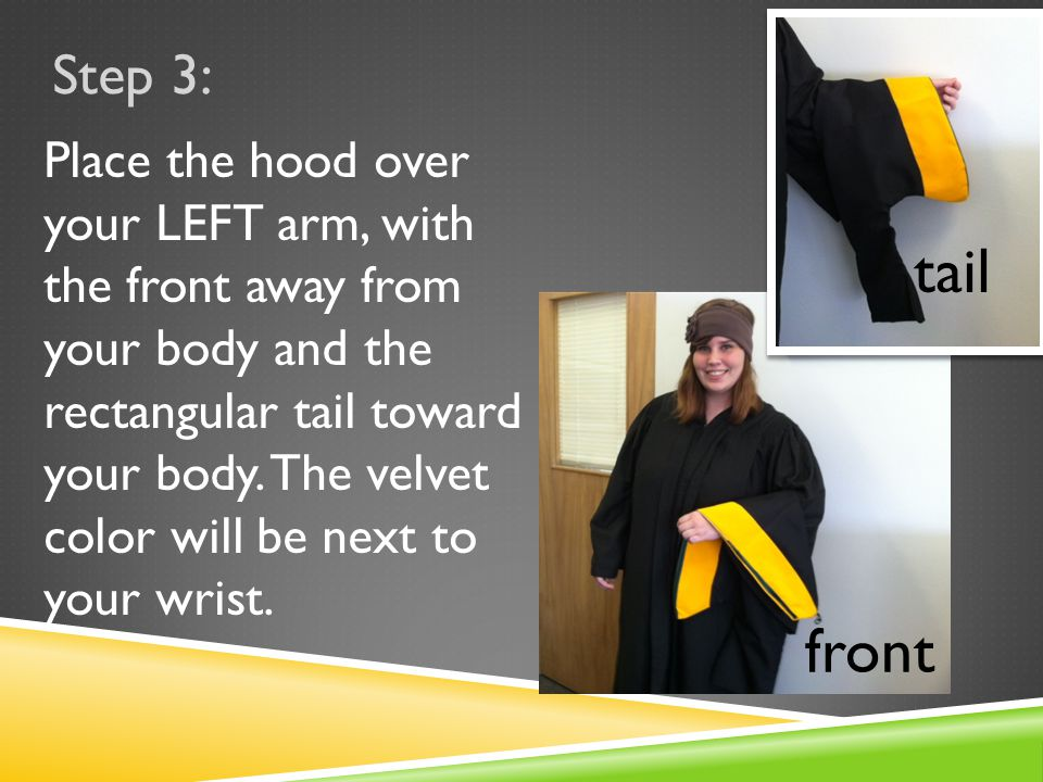 tail front Place the hood over your LEFT arm, with the front away from your body and the rectangular tail toward your body.