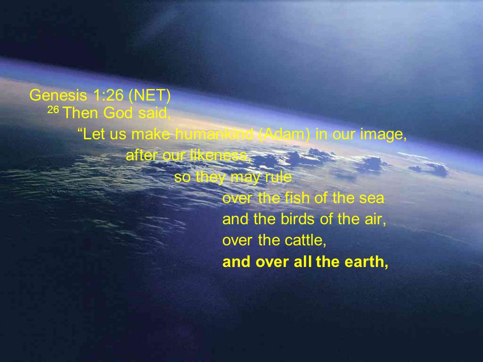 Genesis 1:26 (NET) 26 Then God said, Let us make humankind (Adam) in our image, after our likeness, so they may rule over the fish of the sea and the birds of the air, over the cattle, and over all the earth, and over all the creatures that move on the earth.