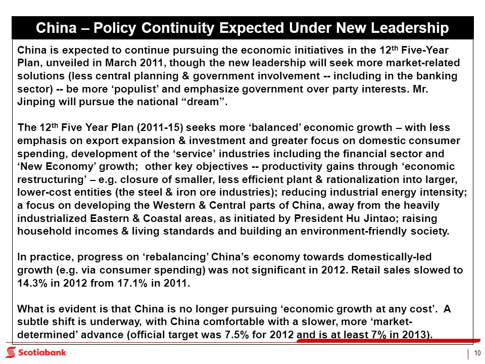 10 China – Policy Continuity Expected Under New Leadership China is expected to continue pursuing the economic initiatives in the 12 th Five-Year Plan, unveiled in March 2011, though the new leadership will seek more market-related solutions (less central planning & government involvement -- including in the banking sector) -- be more populist and emphasize government over party interests.