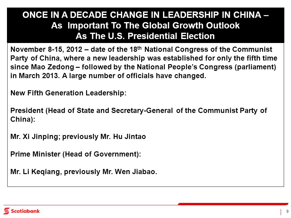9 ONCE IN A DECADE CHANGE IN LEADERSHIP IN CHINA – As Important To The Global Growth Outlook As The U.S. Presidential Election November 8-15, 2012 – d