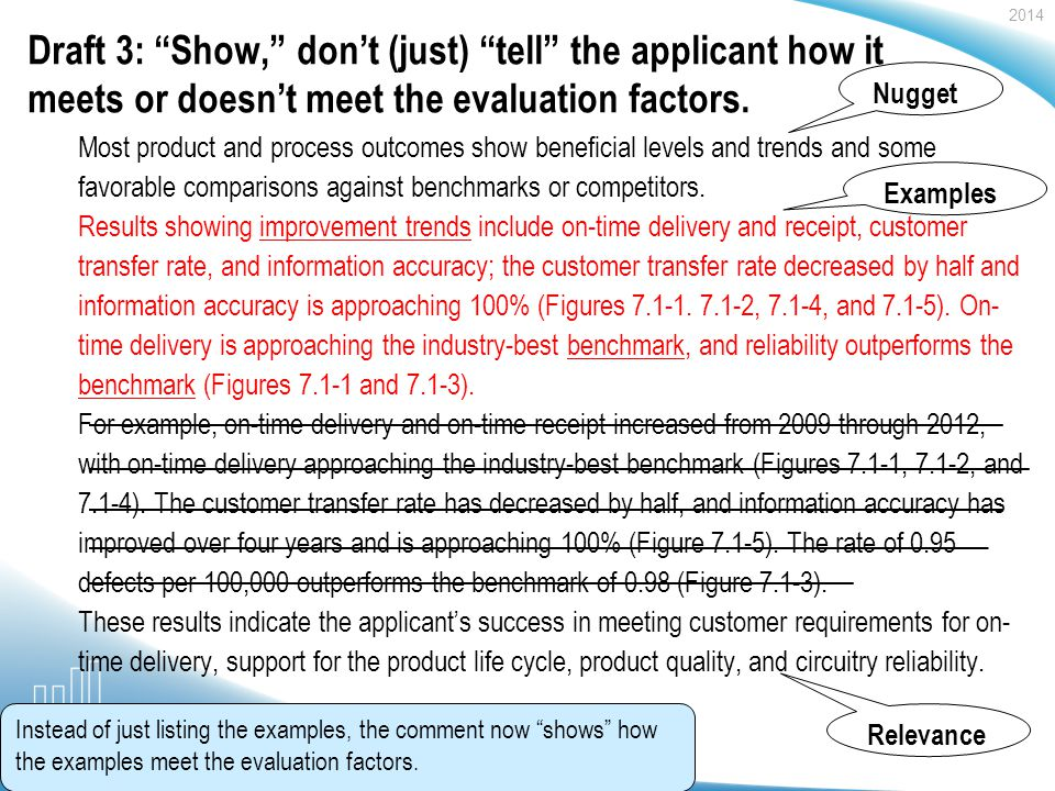 2014 Baldrige Performance Excellence Program | www.nist.gov/baldrige Draft 3: Show, dont (just) tell the applicant how it meets or doesnt meet the evaluation factors.