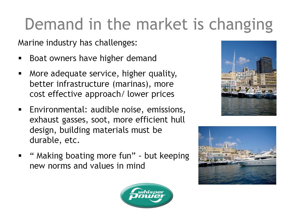 Demand in the market is changing Marine industry has challenges: Boat owners have higher demand More adequate service, higher quality, better infrastr