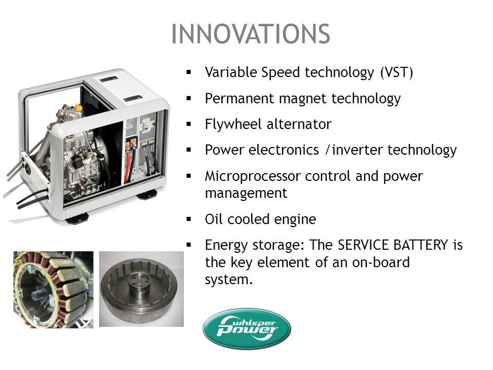 INNOVATIONS Variable Speed technology (VST) Permanent magnet technology Flywheel alternator Power electronics /inverter technology Microprocessor cont