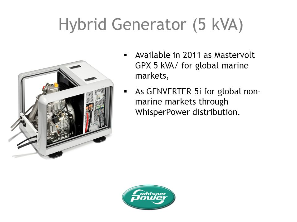 Hybrid Generator (5 kVA) Available in 2011 as Mastervolt GPX 5 kVA/ for global marine markets, As GENVERTER 5i for global non- marine markets through