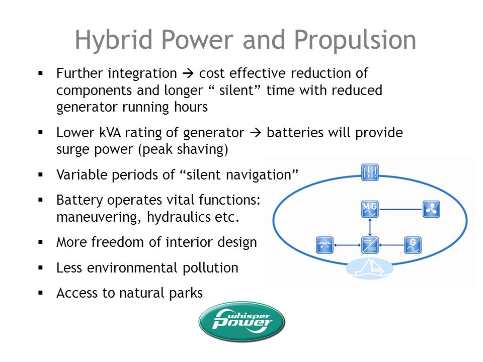 Hybrid Power and Propulsion Further integration cost effective reduction of components and longer silent time with reduced generator running hours Low