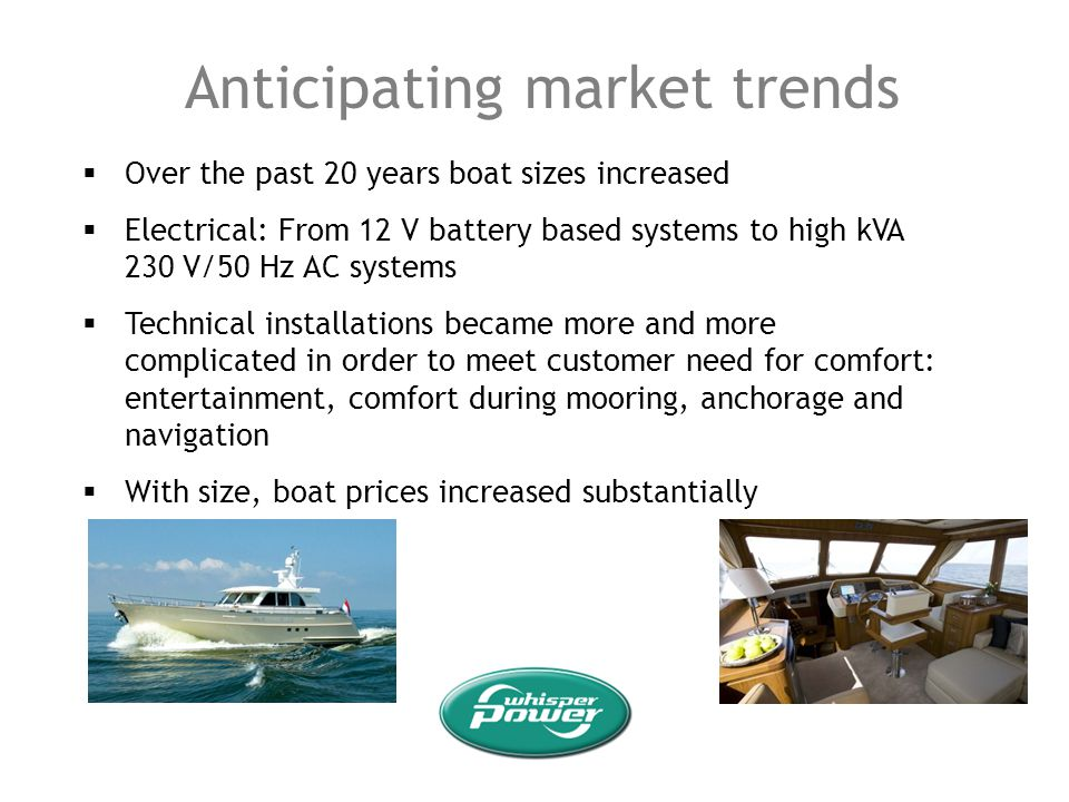 Anticipating market trends Over the past 20 years boat sizes increased Electrical: From 12 V battery based systems to high kVA 230 V/50 Hz AC systems
